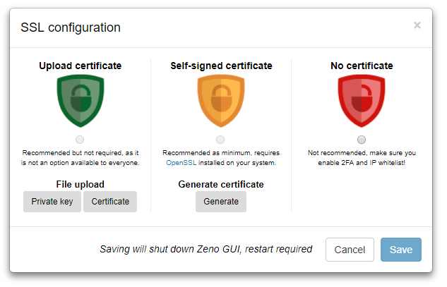 SSL Configuration - ZenoCrypto